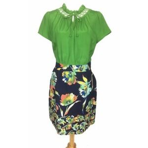 Anthropologie Tabatha 16 Dress Green Floral Ruffle